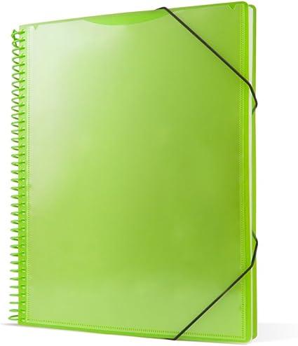 Pryse 4240064 - Carpeta espiral con 60 fundas, A4, color verde: Amazon.es: Oficina y papelería