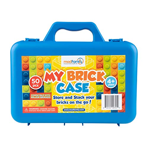 ModFamily My Brick Case - Portable Storage Box for Kids Building Bricks - Comes with Play Surface for Storing and Building Bricks On-The-Go - Toys for Boys & Girls - (Blue)