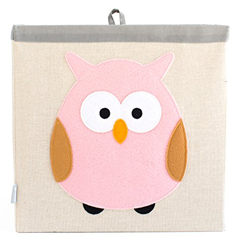 Large Collapsible Cube Storage Bin :: 100% Jute Canvas Toy Basket for Baby Items, Kids Clothes & Much More, 13 x 13 Square, with Adorable Felt Animal Design, Owl, Brown by Grey Bee