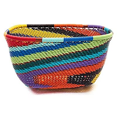 Handmade Fair Trade African Zulu Telephone Wire Basket Medium Almost Square Bowl 6.25""