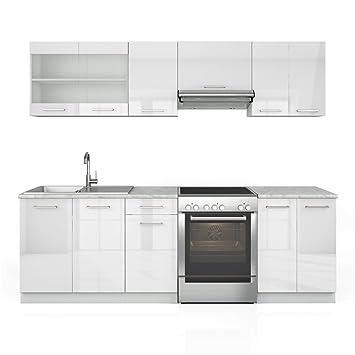 Küchenzeile 240 cm - 7 Schrank-Module frei kombinierbar - Küche ... | {Küchenzeile weiß hochglanz 60}