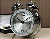 Quiet Non-ticking Silent Quartz Analog Retro Vintage bedside Twin Bell Alarm Clock With Loud Alarm and Nightlight. The Best Gift for heavy sleepers and Kids.Battery Powered (Blue,Silver) (Silver)