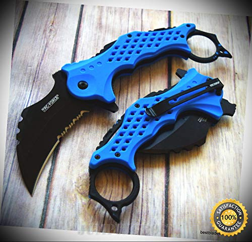 Lever Handles Finish Crystal (KARAMBIT BLUE SPRING ASSISTED SHARP KNIFE WITH POCKET CLIP - Premium Quality Hunting Very Sharp EMT EDC)