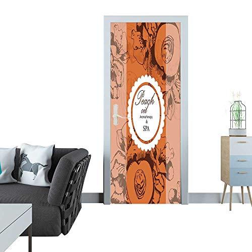 Anmaseven Glass Door Sticker Decals Label for Cosmetic Oil of Peach Sticker for Door 30x79(77x200 cm) (Label Peach)