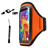 Armband Bag Orange for LG Fortune/Phoenix 3/Aristo/K3/K4/K8 Water Resistant belt [Key Holder] Come with Determination Hand Strap + 2.1A Retractable mini USB Car Charger with Micro USB