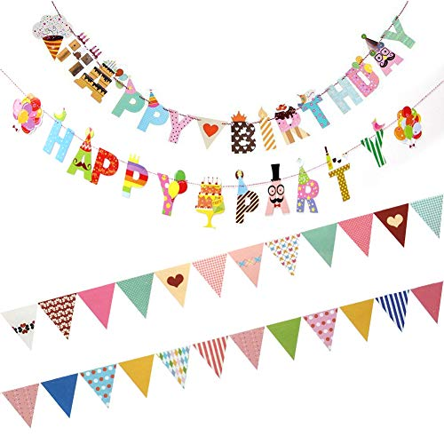 4 Pack Party Decorations, Lovely Triangle Banner Flags, Birthday Decorations for Indoor & Outdoor Party, Wedding, Birthday Party, Baby Shower, Event & Party Supplies (Triangle+Letter-4pack)