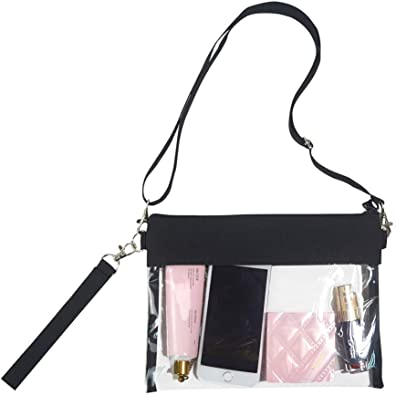 School Sports Games and Concerts Miraclery Clear Crossbody Bag NFL Stadium Approved Transparent Clear Purse Zippered Tote Bag with Adjustable Shoulder Strap and Wrist Strap for Work