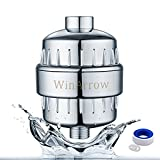 WinArrow High Output Universal Shower Filter with Replaceable 5-Stage Filter Cartridge Let Your Hair and Skin Healthier Free Teflon Tape - Chrome