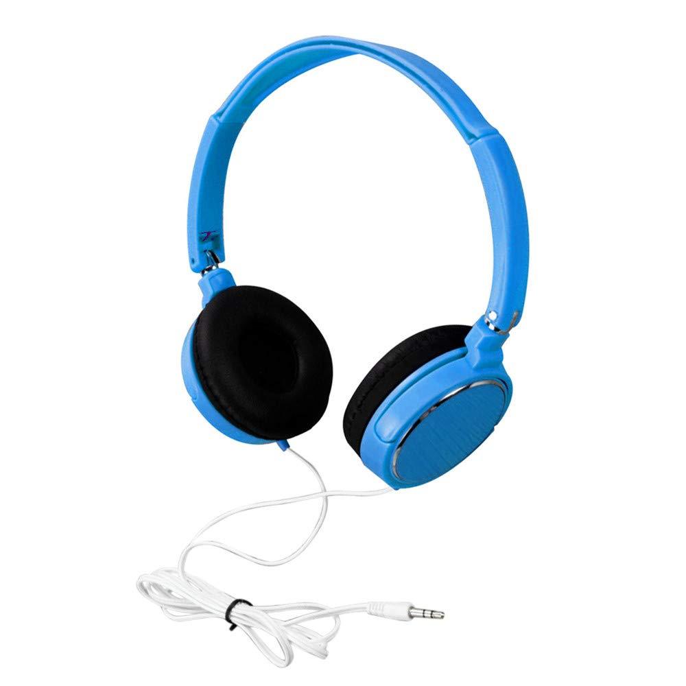Foldable Headphones - On-Ear Stereo Earphones, 3.5MM Wired Connector Wire Headphones Portable On Ear Stereo Headset Comfortable Lightweight Adjustable Earphon for Samsung/HP/HTC/Lenovo/LG (Sky Blue)