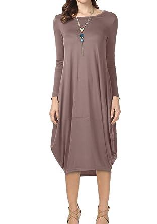 f7d550093cfa Women Long Sleeve Loose Casual Pockets Package Midi Hip Party Dress Khaki M