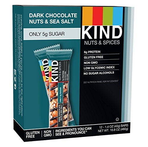 KIND Bars, Dark Chocolate Nuts & Sea Salt, Gluten Free, 1.4 Ounce Bars, 12 - Nut Less