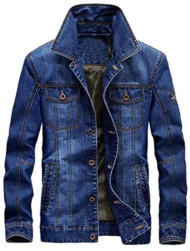 Vogstyle Men's Winter Distressed Denim Trucker Jacket Slim Fit Casual Pockets Button Down Jacket Style 2 Light Blue M by Vogstyle