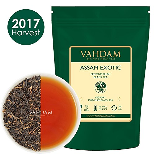Exotic Assam Tea Leaves with Imperial Golden Tips, Harvest, Black Tea - Malty, Rich & Flavoury (50 Cups), Loose Leaf Tea , Perfect English Breakfast Tea, 100% Certified Pure Assam Tea,3.53oz (Assam Breakfast Tea)