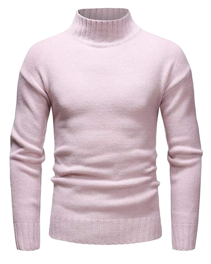 ARTFFEL Mens Pure Color Fall Winter Regular Fit Turtleneck Knitted Pullover Sweater