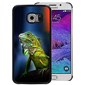 A-type Arte & diseño plástico duro Fundas Cover Cubre Hard Case Cover para Samsung Galaxy S6 EDGE (NOT S6) (Gecko Chameleon Lizard Tropical Green)