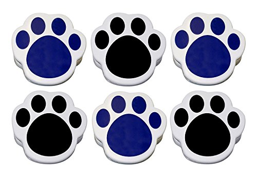 Magnetic Memo Clip - Lot of 6 - Plastic Paw Print Magnetic Memo Clips, Large, Sturdy, Black & Blue Mix.