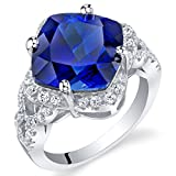 7.50 Carat Created Blue Sapphire Sterling Silver Cushion Halo Ring Size 8
