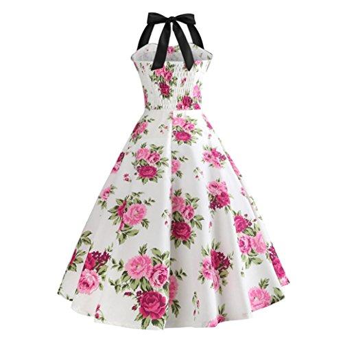 Femmes 1950 Halter sans Vintage Hepburn Robe Soire Robes GreatestPAK Moulante Impression Audrey Swing Blanc manches EqR0pH