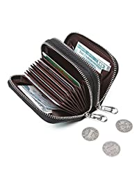RFID Womens Card Holder Accordion Style Card Case All-in-one Wallet with keyring
