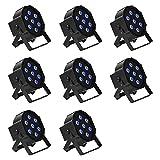 Stage lighting LED - TOOGOO(R) 8pcs 7 X 10W LED DMX512 4in1 Stage lighting LED Par Can RGBW PAR64 Dj Party Lights