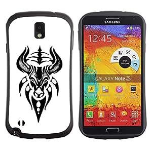 Paccase / Suave TPU GEL Caso Carcasa de Protección Funda para - Bull Head Art Drawing Tattoo - Samsung Note 3 N9000 N9002 N9005