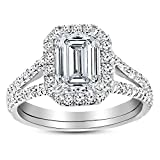 1 Carat GIA Certified 14K White Gold Split Shank Emerald Cut Diamond Engagement Ring (0.5 Ct K Color VVS1 Clarity Center)