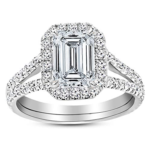 1 Carat GIA Certified 14K White Gold Split Shank Emerald Cut Diamond Engagement Ring (0.5 Ct K Color VS2 Clarity Center)