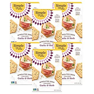 Simple Mills Garlic & Herb Gluten Free Sprouted Seed Crackers with Chia Seeds, Hemp Seeds, Sunflower Seeds, Flax Seeds, and Sunflower Oil, Made with whole foods, 6 Count (Packaging May Vary)