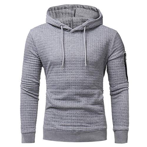 Long Sleeve Plaid Hoodie Hooded Solid Sweatshirt Drawstring Tops Mens' Jacket Coat Outwear Overcoat (Gray, XXXL) by Danhjin Mens' (Image #5)