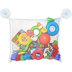 Mesh Bag Bath Toy Organizer for Baby by MintPear, Extra Large with Two Large Strong Suction Cups, Great for Delicate Laundry, Lingerie and Makeup Tools, Best for Shower, Swimming and Beach (White)