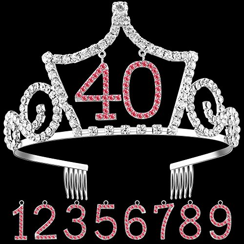 BABEYOND Crystal Rhinestone Birthday Tiara Headband Happy Birthday Crown with Replaceable Age Numbers (Crown with replaceable numbers 0-9) -
