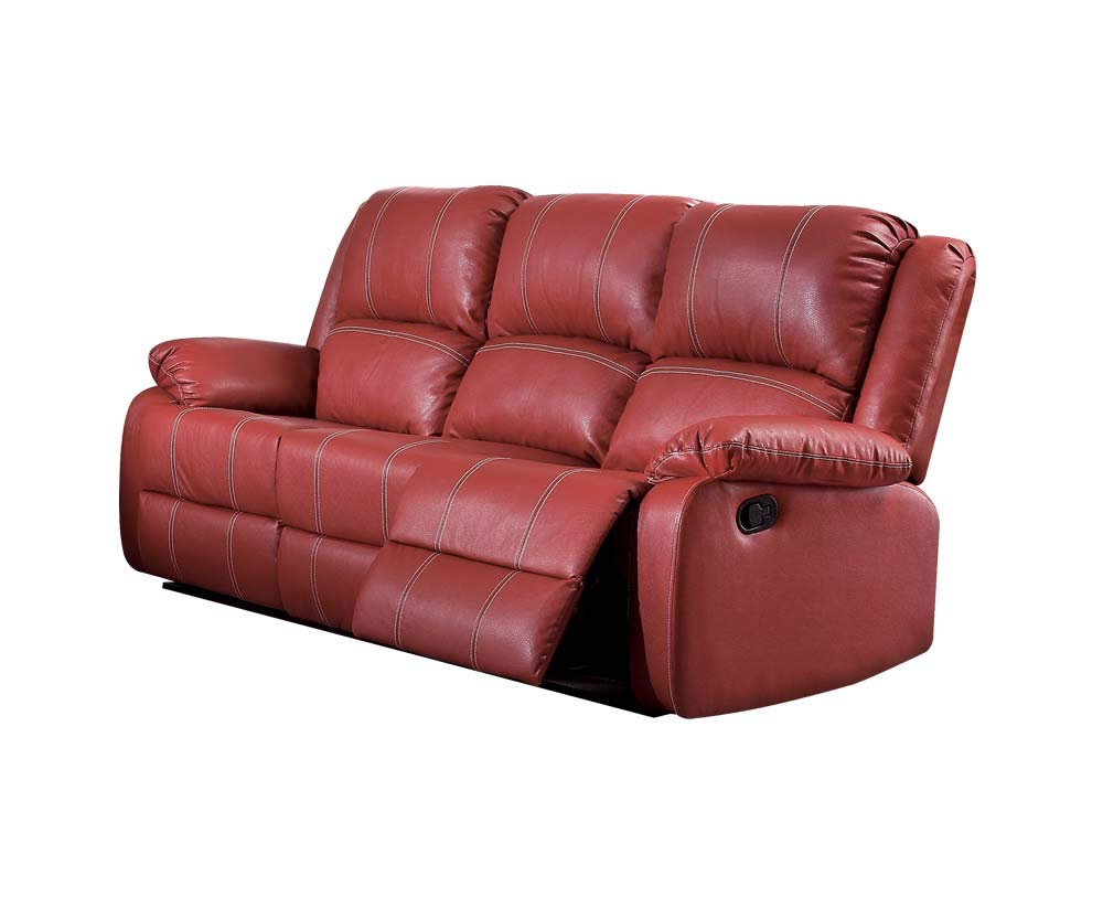 Amazon Com Acme Zuriel Red Faux Leather Reclining Sofa Kitchen