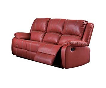 Amazon.com: ACME Zuriel Red Faux Leather Reclining Sofa: Kitchen ...