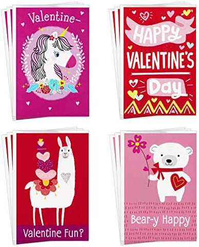 Hallmark Assorted Valentines Day Cards for Kids, 12 Cards with Envelopes (Unicorns, Bears, Llamas)