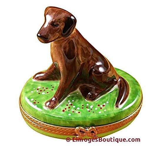 CHOCOLATE LAB DOG - LIMOGES PORCELAIN FIGURINE BOXES AUTHENTIC IMPORTS ()