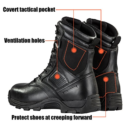 Steel Toe Tactical Boots - FREE SODLIER Waterproof Shoes Penetration Resistant Composite Toe Combat Boot(Black 12.5) by FREE SOLDIER (Image #2)