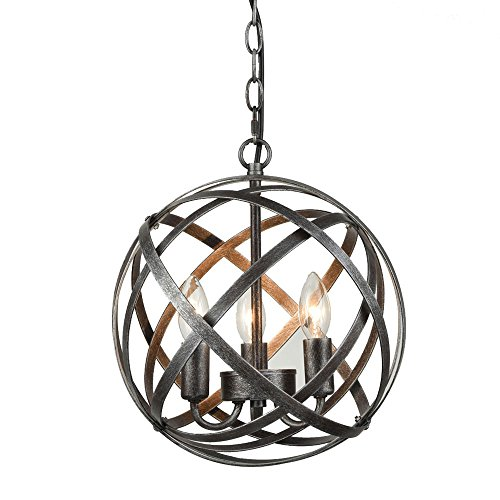DANXU Lighting Industrial Edison Hanging Pendant 3 Lights Large Size Art Deco Cage Lamp Guard Candle Light