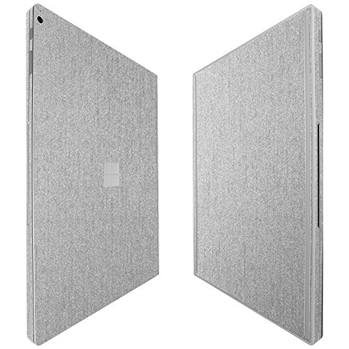 Skinomi Microsoft Surface Book 2 15 Screen Protector + Brushed Aluminum Full Body, TechSkin Brushed Aluminum Skin for Microsoft Surface Book 2 15 with Anti-Bubble Clear Film Screen