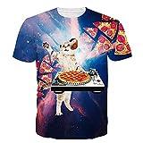 Idgreatim Men's 3D Cosmic Pizza Cat Print Short Sleeve T-Shirts Tees Small