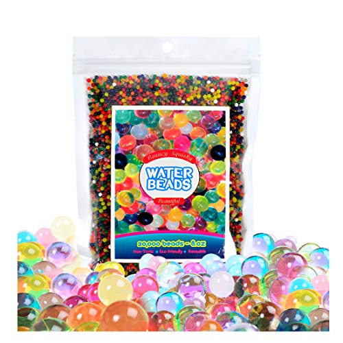 8 Oz Water Beads Rainbow Mixed Jelly Crystal Glowing Balls for Spa Refill,Sensory Shooting Toys and Décor (Half Pound)