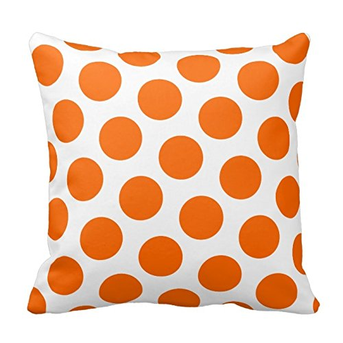 Price comparison product image Orange and White Polka Dots Design Throw Pillow Cover Case Decorative Square for Home Sofa 18X18 Inches Two Sides