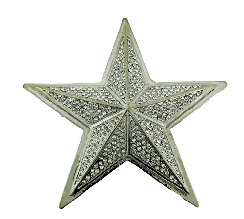 STAR METAL BELT BUCKLE WHITE CRYSTAL RHINESTONES BLING JEWELED
