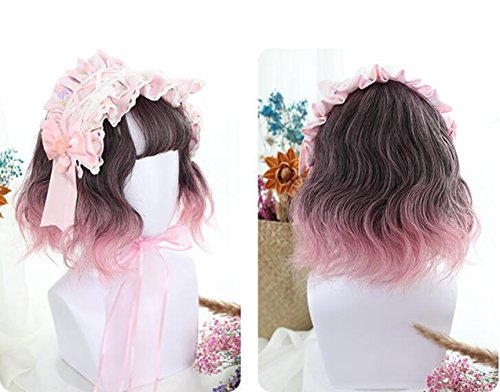 Graceful Two Tone Pink Rose Ombre Synthetic Lace Front Bob Wig Natural Wavy Hair for Hollywood Cosplay Costume Party + Wig Cap - Adult Wiggles The Clown Costumes