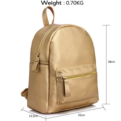 1 Large Leather Womens Bags New Rucksack Backpack School Travel Gold Design Ladies Fashion P4Xw05x