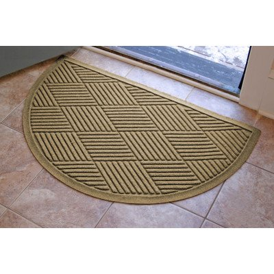 Aqua Shield Diamonds Half-Oval Mat, 24 by 39-Inch, Camel Aqua Circle