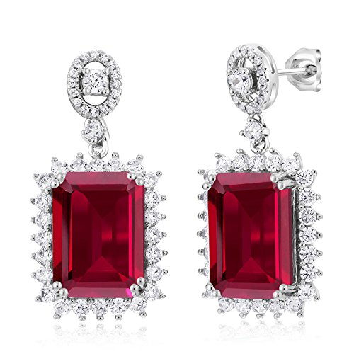 16.60 Ct Emerald Cut Red Created Ruby 925 Sterling Silver (Emerald Cut Dangle)