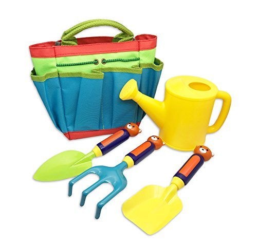 MEALIDIEAN Kids Gardening Tool Set Beach Toy with Tote for Children Outdoor Play ( 5 Pieces ) by MEALIDIEAN