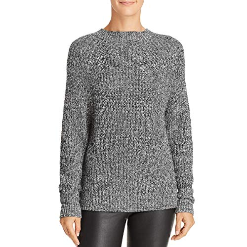 French Connection Women's Millie Mozart Solid Knits Cotton Sweaters, Salt/Pepper, L