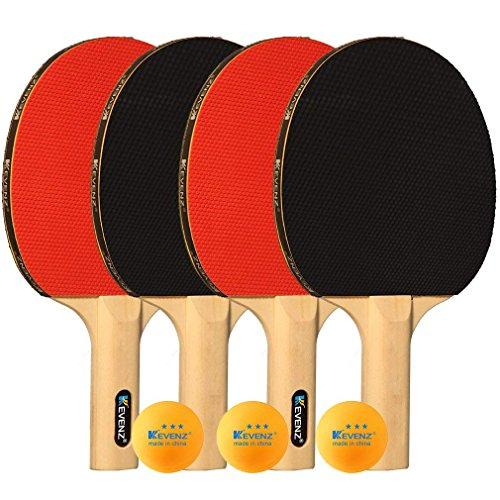 KEVENZ Patented Table Tennis Equipmen,Professional Table Tennis Rackets,Ping Pong Paddles with Long Handle,Family Ping Pong Racket (Family Ping Pong Racket_4 Pack)