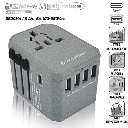 Power Plug Adapter - International Travel (w/5 USB Ports and USB Type C)- Work 150+ Countries - 220 Volt Adapter - Travel Adapter - Type C A G I A/C - UK Japan China Europe (I Plug Home Converter)